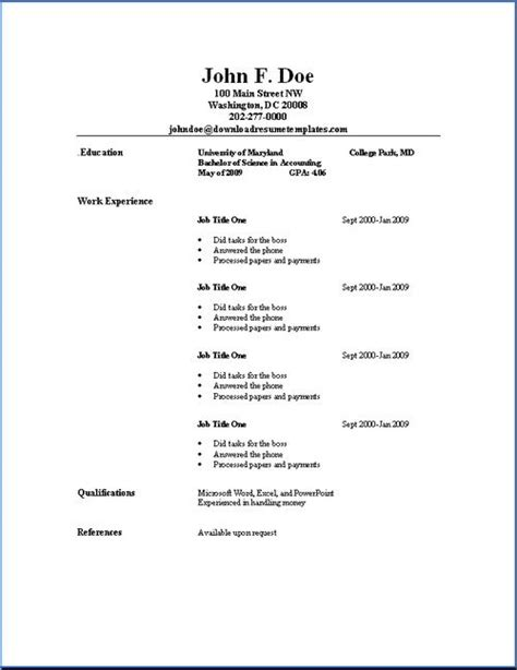 Resume Outlines Free by Basic Resume Outline Sle Photos