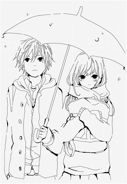 Anime Boy Drawing Couple Colouring Coloring Getdrawings