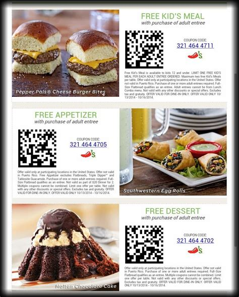 31753 Free Dessert Coupon Chilis by Chilis Coupons Free Appetizer Free Dessert Or Free