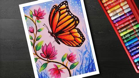 draw easy butterfly  flower scenery drawing