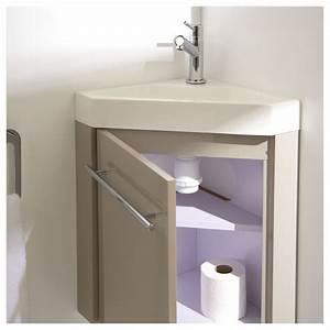 Lave Main Angle : meuble lave main d 39 angle couleur daim vasque planetebain ~ Melissatoandfro.com Idées de Décoration