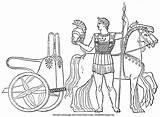 Chariot Greek Ancient Coloring Greece Soldier Bible Spear Armor Horses sketch template