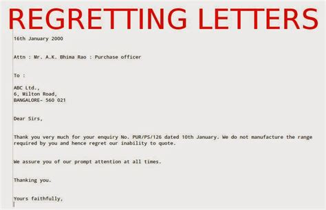 regretting letters samples business letters