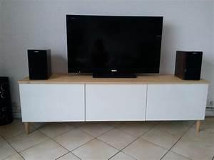 Meuble Tv Suspendu Ikea : meuble tv avec besta ikea meuble blanc plateau en bois ~ Melissatoandfro.com Idées de Décoration