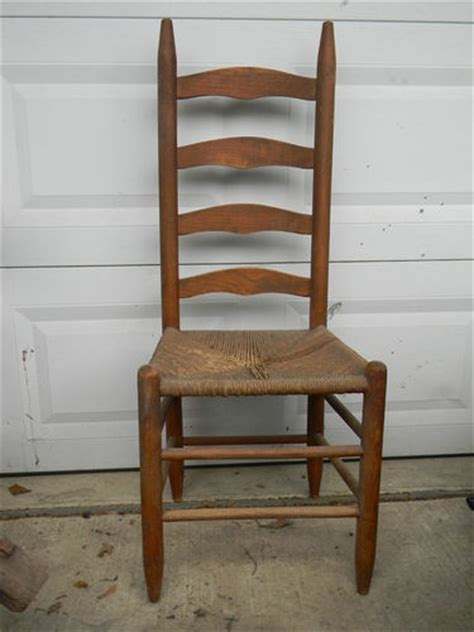antique wood ladder back diningroom side chair woven