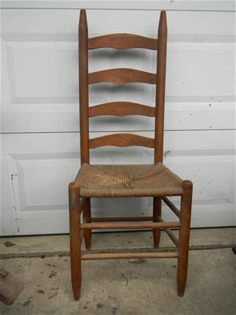 antique wood ladder back diningroom side chair woven
