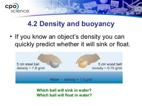what determines whether an object will sink or float ch4 densityandbuoyancysection2