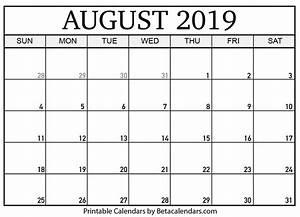 Calender August Blank August 2019 Calendar Printable Beta Calendars