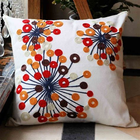Handmade Pillows by Flowers Cotton Handmade Embroidered Cushion Cover