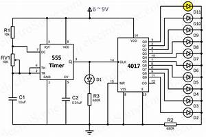 led chaser using 4017 counter and 555 timer With 555timerdiagramgif