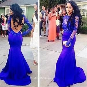 Royal Blue Lace Appliques Long Sleeve Backless Mermaid ...