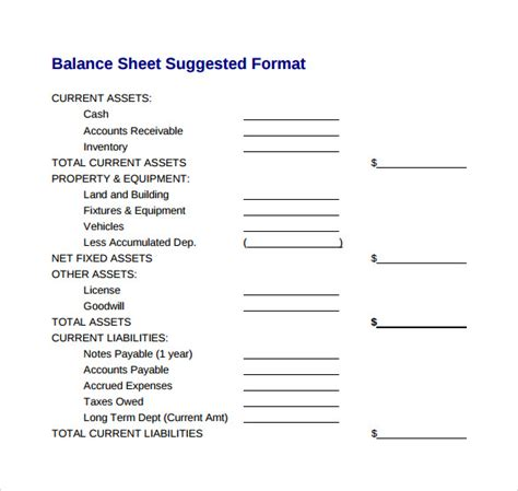 sample balance sheets sample templates