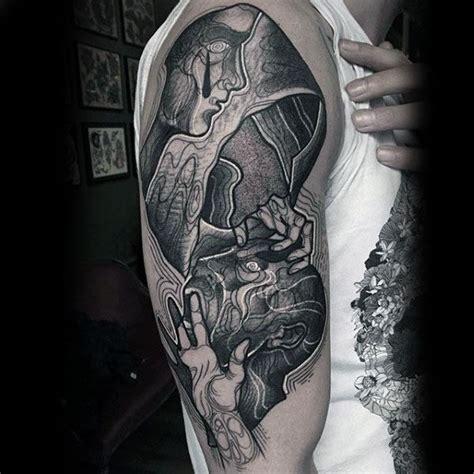 optical illusion tattoos  men eye deceiving designs