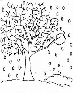 coloring picture of a tree in winter