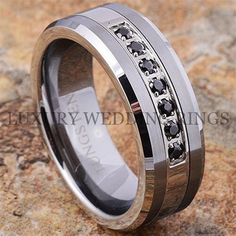 tungsten ring black diamonds mens wedding band brushed titanium color size 6 13 ebay