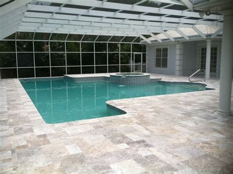 travertine pavers pool deck with silver tumbled