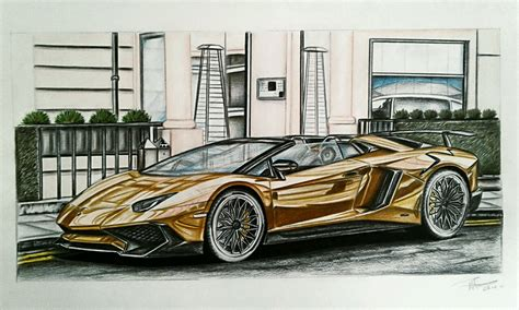 how to draw a lamborghini aventador sv roadster gold lamborghini aventador sv roadster drawing took alot of time on that one
