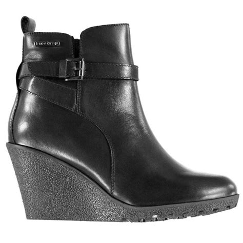 firetrap womens wisdom wedge boots side zip leather buckle details shoes ebay
