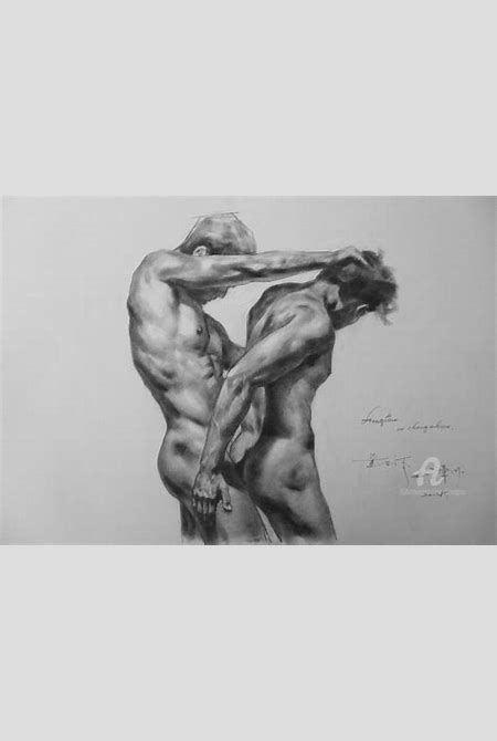 ORIGINAL ARTWORK DRAWING GAY MAN CHARCOAL PENCIL ART MALE NUDE ON PAPER SIGNED BY HONGTAO-12 ...