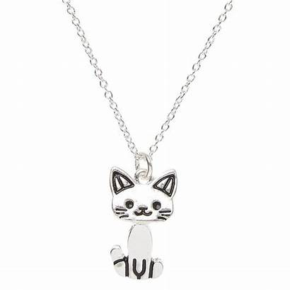 Cat Necklace Pendant Silver Moving Tone