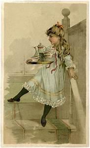 Lovely, Vintage, Tea, Set, Girl, Image
