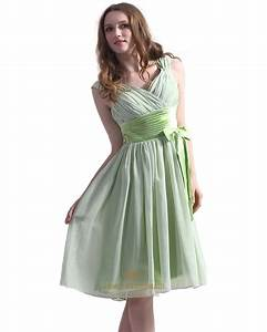 sage green chiffon v neck knee length bridesmaid dress With sage green dresses for wedding