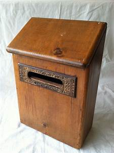 antique rustic wooden mail box with antique metal letter slot With wooden letter box