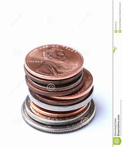 Stack of American Coins stock photo. Image of money ...