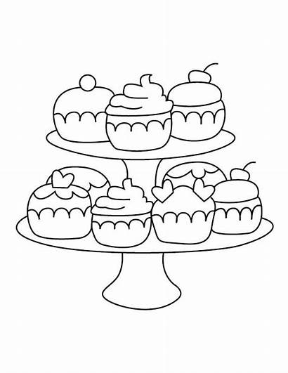 Cupcake Coloring Stand Drawing Line Cupcakes Pages