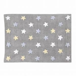 Tapis Pour Bébé : tapis b b gris en coton lavable etoiles tricolores bleu par lorena ~ Teatrodelosmanantiales.com Idées de Décoration