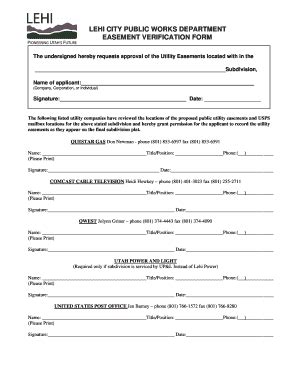 blank easement forms lehi city easements fill online printable fillable