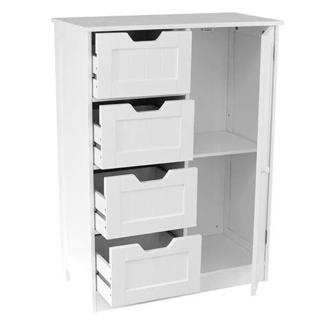 Free Standing Cupboard Storage by White Wooden 4 Drawer Bathroom Storage Cupboard Cabinet