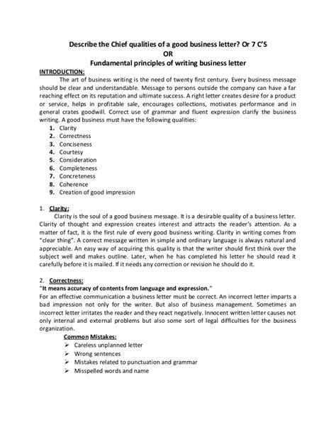 Fundamental principles of writing business letter, 7 c's
