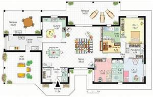 demeure de plain pied detail du plan de demeure de plain With plan de maison 110m2 4 maison accessible detail du plan de maison accessible