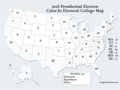 Blank Electoral Map 2016 Color Worksheet  Color Of Love #cf21e796e0a3