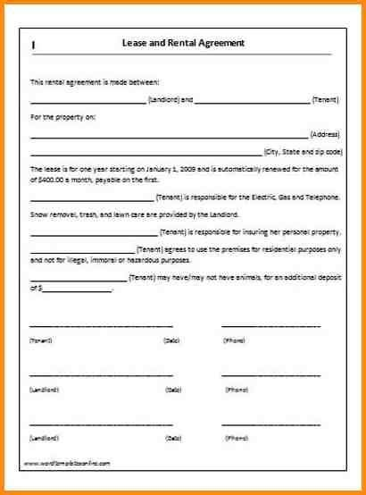 simple  page lease agreement rental agreement