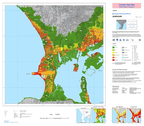 tsunami risk map  bali  scientific diagram