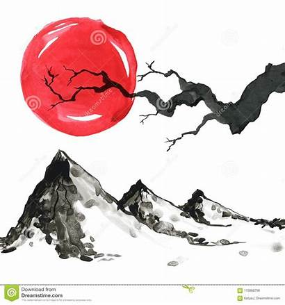 Japanese Mountains Painting Watercolor Illustration Hand Drawing
