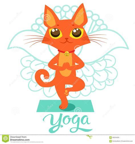 cartoon funny cat icons  yoga position yoga cat pose