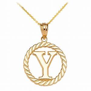 rope circle letter y pendant necklace in 9ct gold gold With circle pendant necklace with letter