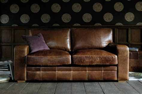 Leather Settee by The Square Arm Leather Sofa Handcrafted By Indigo Furniture