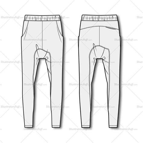 mens drop crotch joggers fashion flat template drop