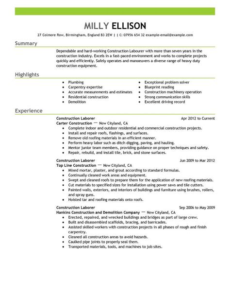 construction experience resumes best construction labor resume example livecareer