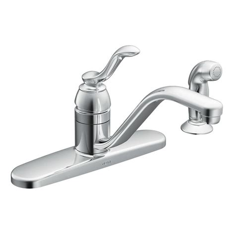 moen ca87528 chrome kitchen faucet with side spray from the banbury collection faucetdirect