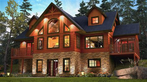 lakes model log home features stone facing