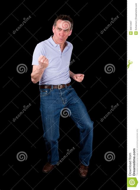 Middle Age Man Doing Funny Dance Pose Stock Image Image