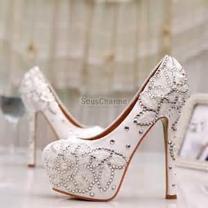 chaussures mariage pas cher escarpins pas cher de mariée à talon aux broderies et strass chaussure mariage chic