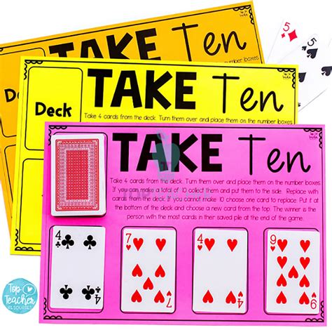 To play, the judge flips over the top green card, and the other players must put down a red card that best fits with the green one in play. Take Ten addition card game   Top Teacher