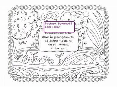 Psalm Coloring Sheet 23rd Scripture Pages Downloadable