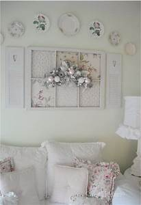Shabby chic victorian fan decorated wall from